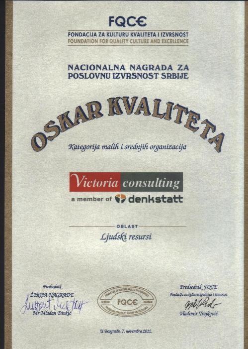 Oskar kvaliteta Victoria consulting